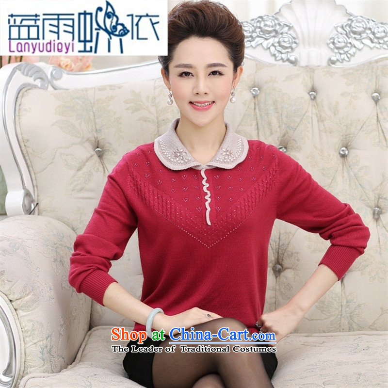 Ya-ting of new stylish simplicity to the elderly in the knitwear mother Dressed Dolls collar long-sleeved spell color diamond Sau San sweater, wine red 125