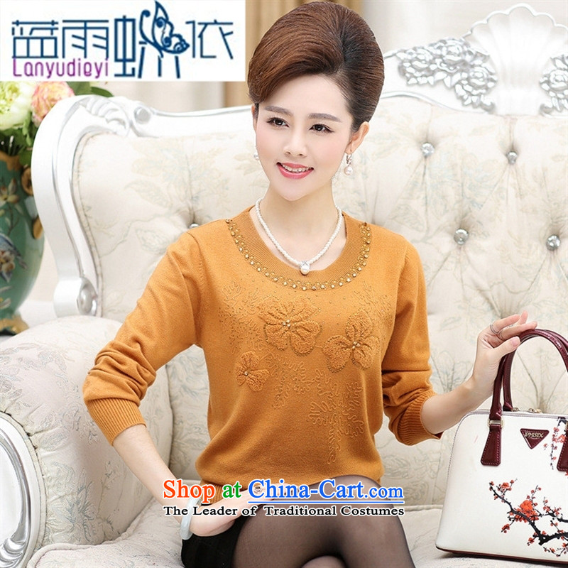 Shop 2015, Ya-ting of older women's large load on the fall of mother, forming the liberal shirt sweater round-neck collar solid color yellow Knitted Shirt?110