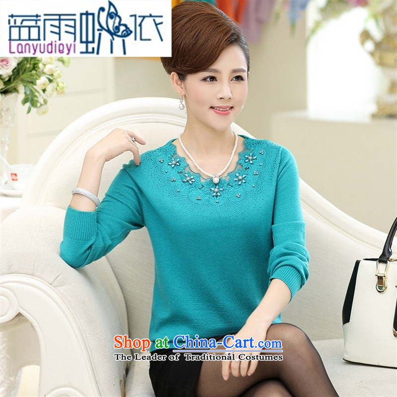 Ya-ting shop autumn and winter new women's Shirt ironing Korean drill knitting sweater in forming the largest number of elderly mother replacing Woolen Sweater Knit Green聽115