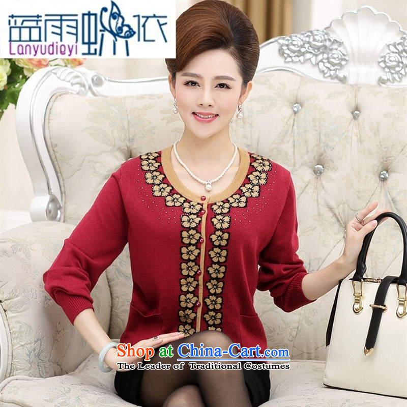 Ya-ting shop in older women fall short of knitted sweaters round-neck collar long-sleeved loose stamp leisure Knitted Shirt with mother purple?L