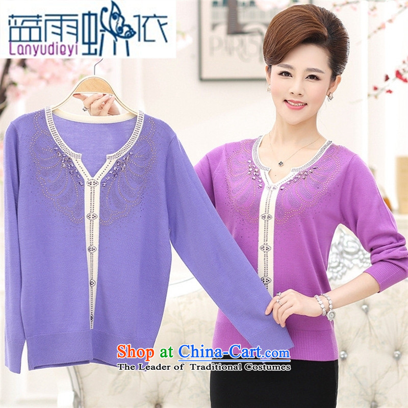 Ya-ting shop in older women wear long-sleeved replacing large autumn T-shirt with new products in the autumn mother ironing drill V-Neck Knitted Shirt and light colored blue rain butterfly to 110, , , , shopping on the Internet