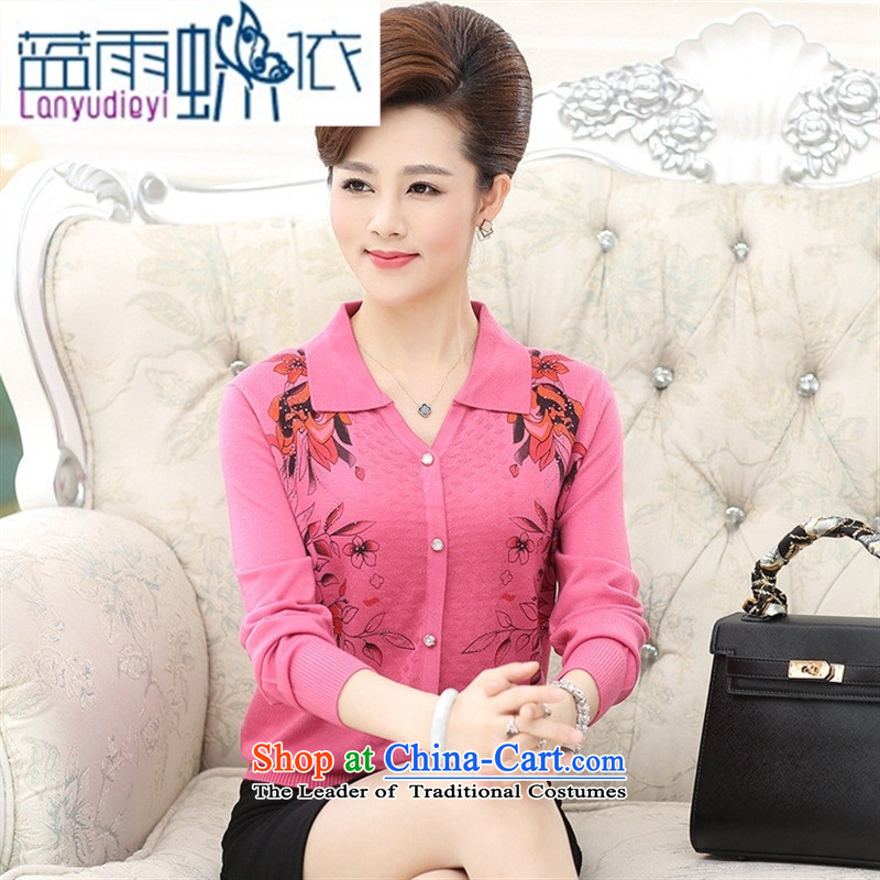 Ya-ting shop 2015 new products fall mother knitted blouses and middle-aged trendy lapel pin wear thin tee shirt female Blue聽110
