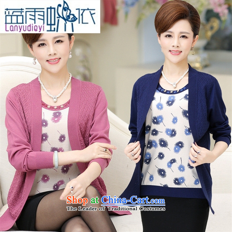 Ya-ting shop in older women with new leave autumn two kits knitting cardigan middle-aged ladies printed long-sleeved large load of mother Red?115