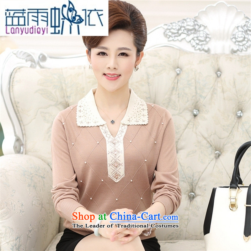 Ya-ting shop 15 new fall in older women wear long-sleeved T-shirt, large relaxd low reverse collar middle-aged moms Knitted Shirt with Blue?115