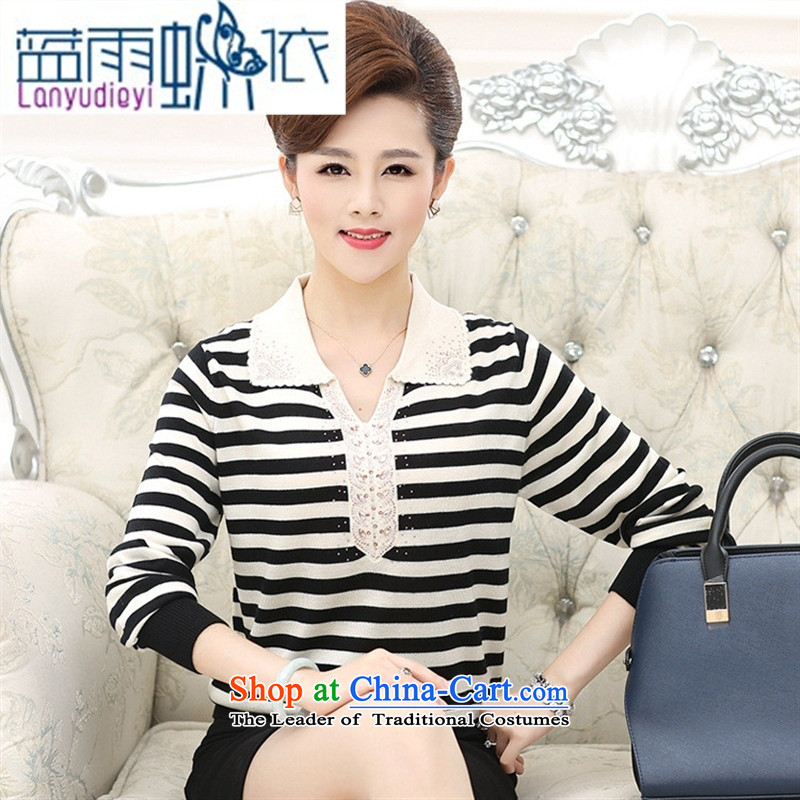 Ya-ting Shop Boxed new autumn 2015 dolls collar Neck Knitted in older women's long-sleeved shirt with mother forming the Striped Tee female black?115