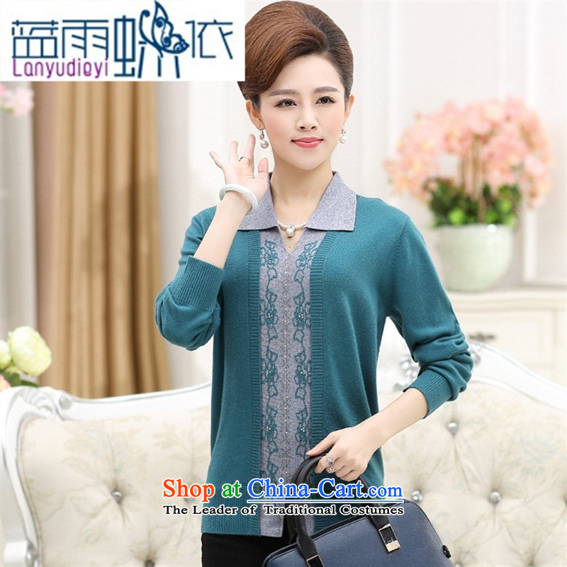 Ya-ting shop women fall Knitted Shirt long-sleeved sweater 40-50-year-old mother with a sweater code 2015 new and old age are Blue 120