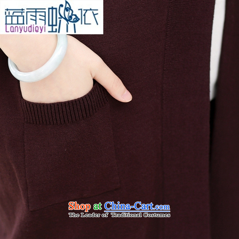 Ya-ting shop in older women's new knitted shirts Korea Fall edition in mom long knitting cardigan large long-sleeved sweater chestnut horses are code, blue rain butterfly according to , , , shopping on the Internet
