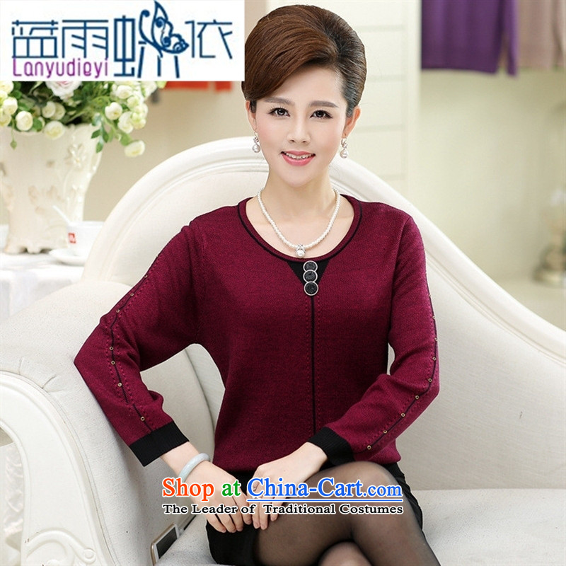 Ya-ting shop 2015 Autumn replacing middle-aged female replacing round-neck collar with long-sleeved in stylish mother older autumn new women's Knitwear sweater, wine red?120