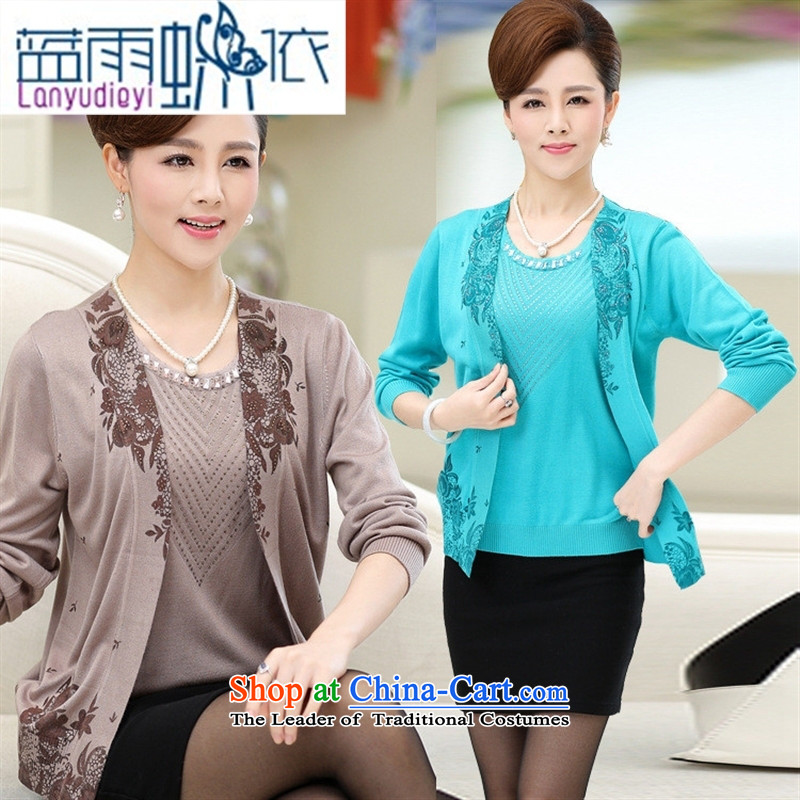 Shop 2015 Ya-ting of older women's autumn large new moms knitted jacket leave two stamp t-shirt, jacket and color聽110