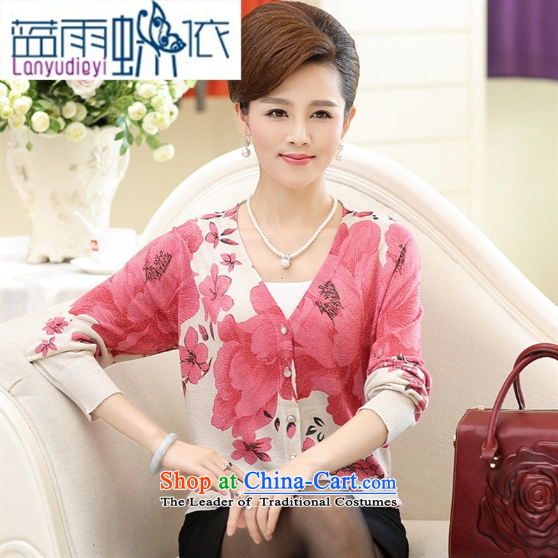 Ya-ting Shop Boxed new autumn 2015 middle-aged female replace V style boxed long-sleeved elderly mother clothes knitting cardigan sweater pink 115