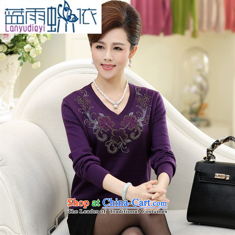 Ya-ting shop 2015 new products in the autumn and winter older mother replacing sweater ironing drill female flowers V-Neck knitted shirts, forming the basis for larger T-shirt Blue?110