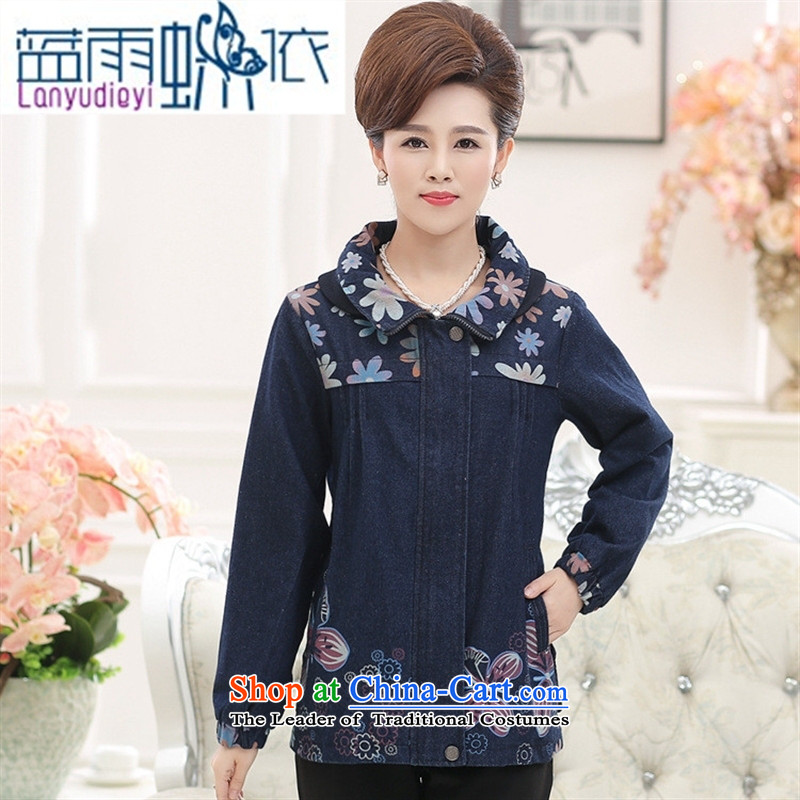 Ya-ting shop in the autumn of older women, new mothers with large loose stamp cowboy jacket with color pictures of her female燲XL
