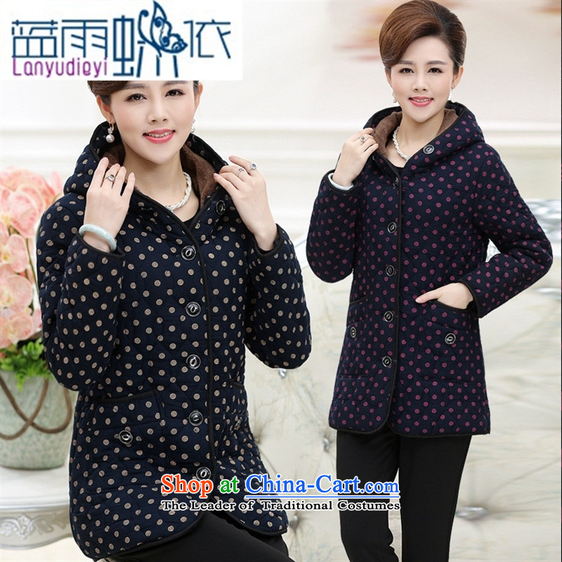 Ya-ting shop in older women's winter clothing stylish xl cotton coat in older mother casual warm lint-free cotton in the thick red燲XXL