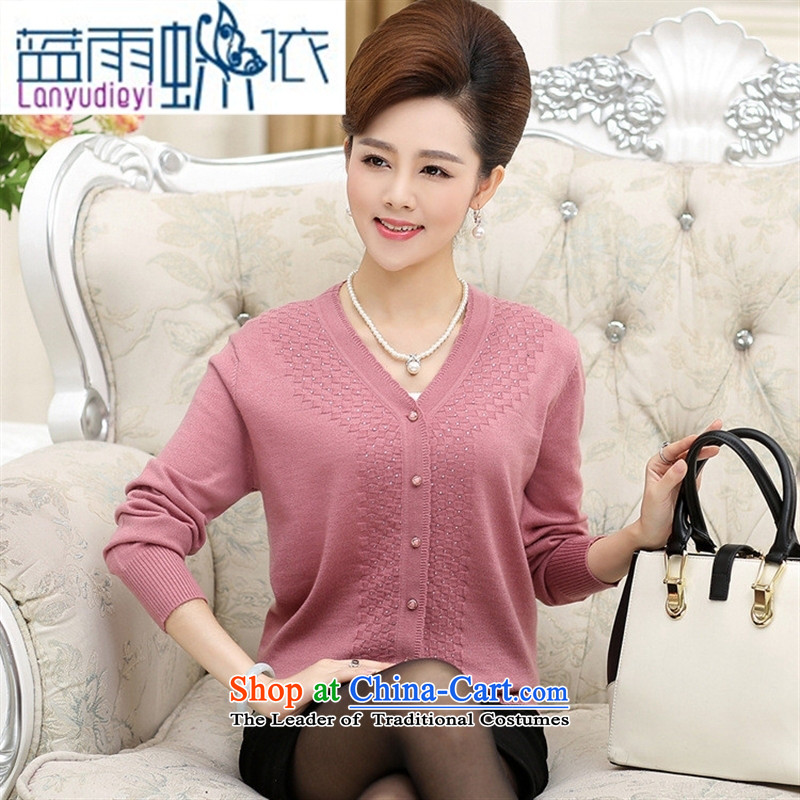Ya-ting shop in the new 2015 Older Women fall inside larger MOM pack sweater pure color ironing drill knitting cardigan?XXXL Red Jacket