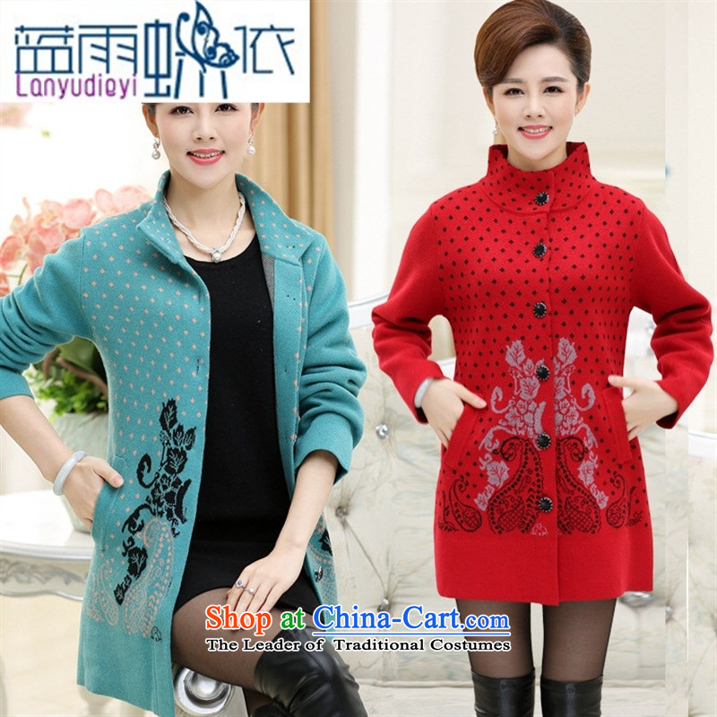 Ya-ting shop 2015 autumn and winter in the new Elderly Women's mother woolen cardigan grandma loaded thick long coats sweater in Blue 110