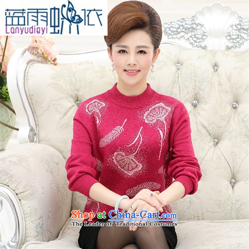 Ya-ting shop autumn and winter new thickening of older persons in the larger mother load sweater Cashmere wool Knitted Shirt, forming the hedging of red sweater�5