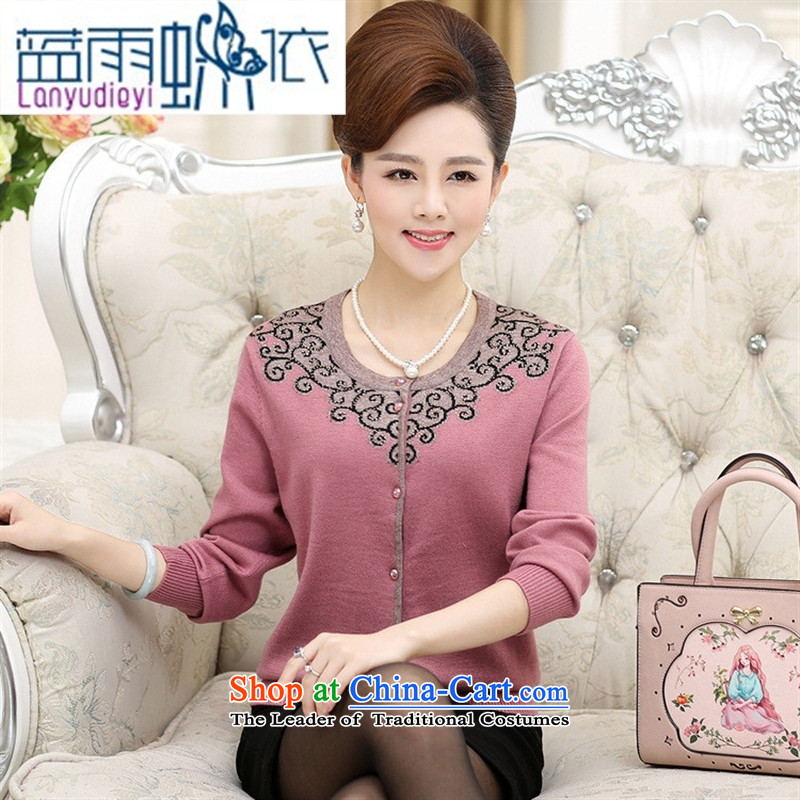 Ya-ting shop 2015 Autumn New) Older knitting cardigan jacket middle-aged women with long-sleeved round-neck collar mother forming the pink shirt?L