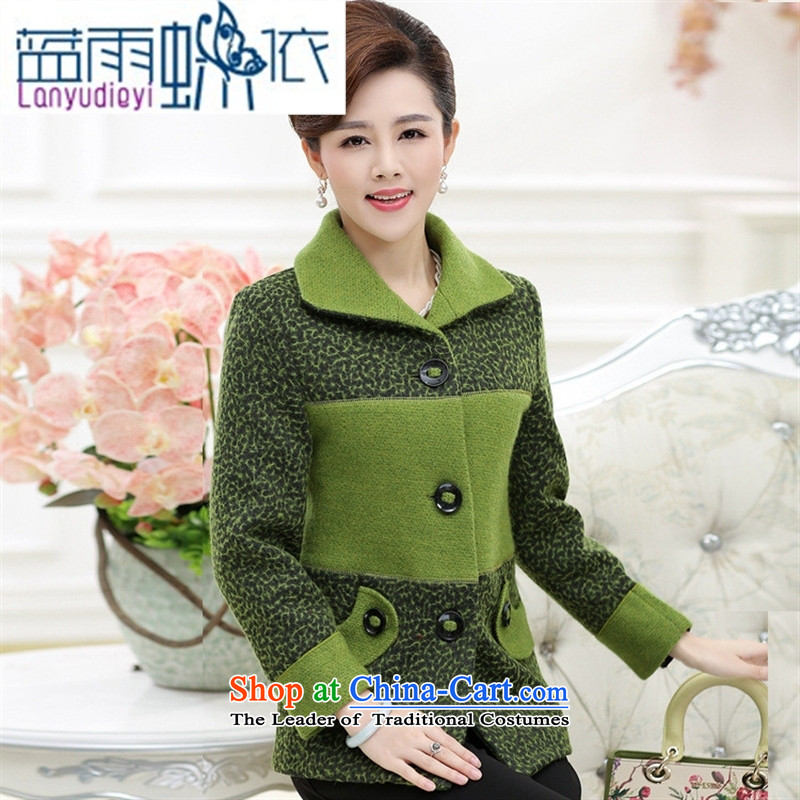 Ya-ting shop in older women's new mother coat with gross? Fall_Winter Collections in the new and older persons code wool coat green燲XXXL?