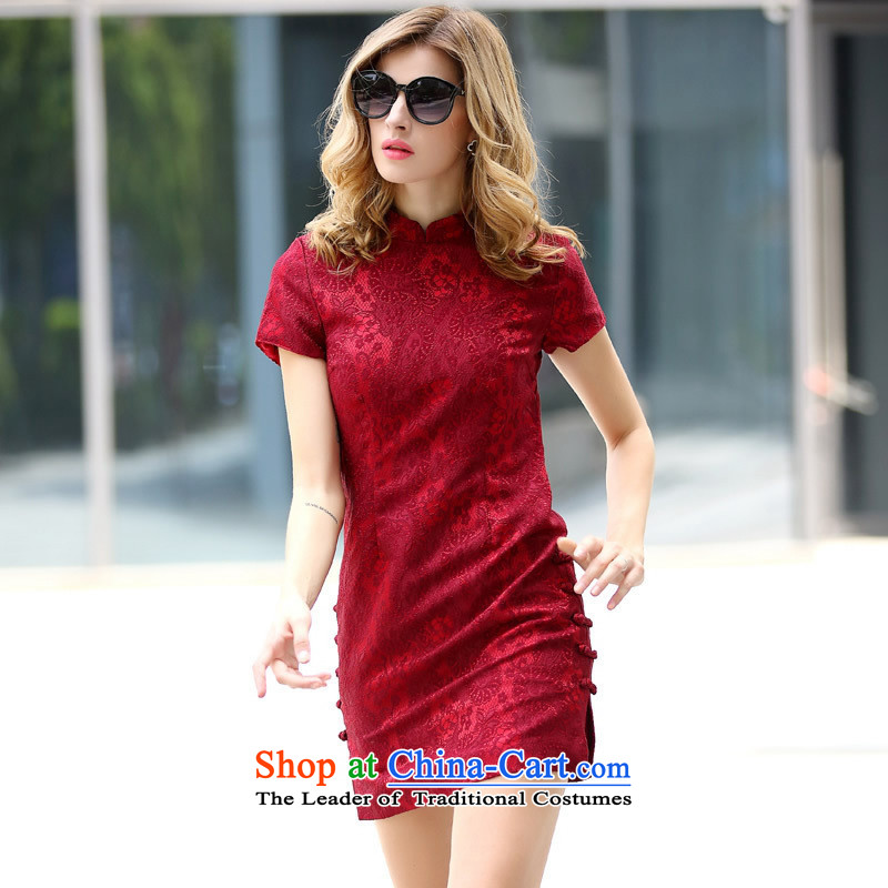 The Black Butterfly European site Fall 2015 for women in Europe small collar qipao festive Sau San qipao Sau San picture color?XL