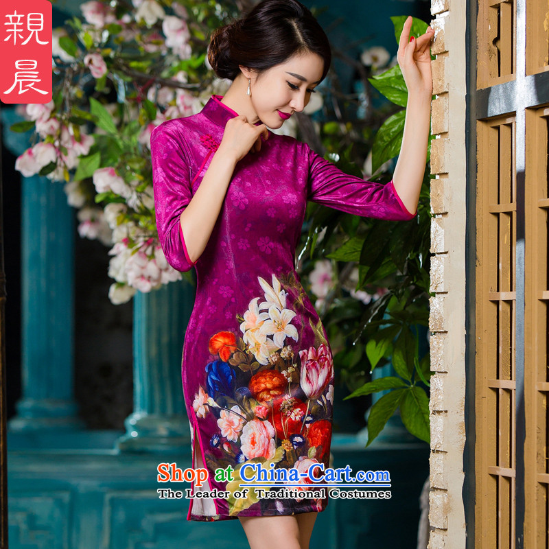 The elderly in 2015 new load mother autumn wedding dress large cheongsam dress SHORT SLEEVES) scouring pads cheongsam picture color Kim?3XL