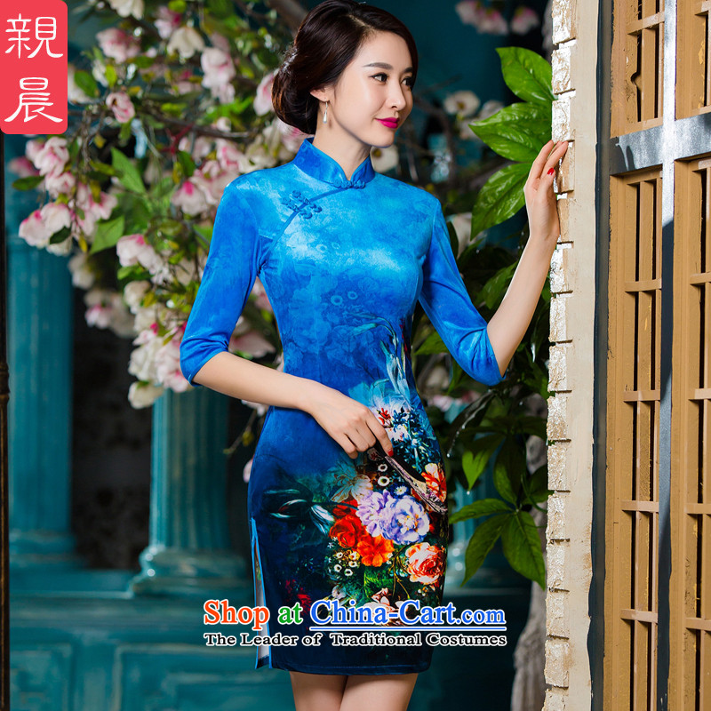 The elderly in the mother with scouring pads in the skirt qipao Kim cuff wedding-dress short skirt, large new autumn 2015 picture color燲L