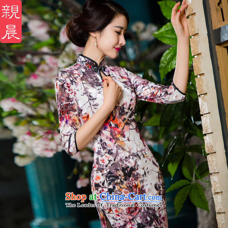The elderly in 2015 new load mother autumn in large plush high long-sleeved cheongsam dress wedding dress photo color?S