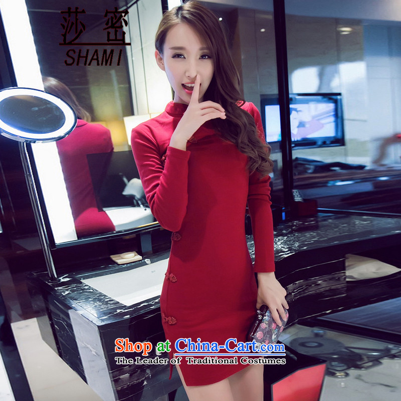 Elizabeth key autumn 2015 retro sexy beauty package and a mock-neck cheongsam dress casual pure cotton short skirt wine red?L