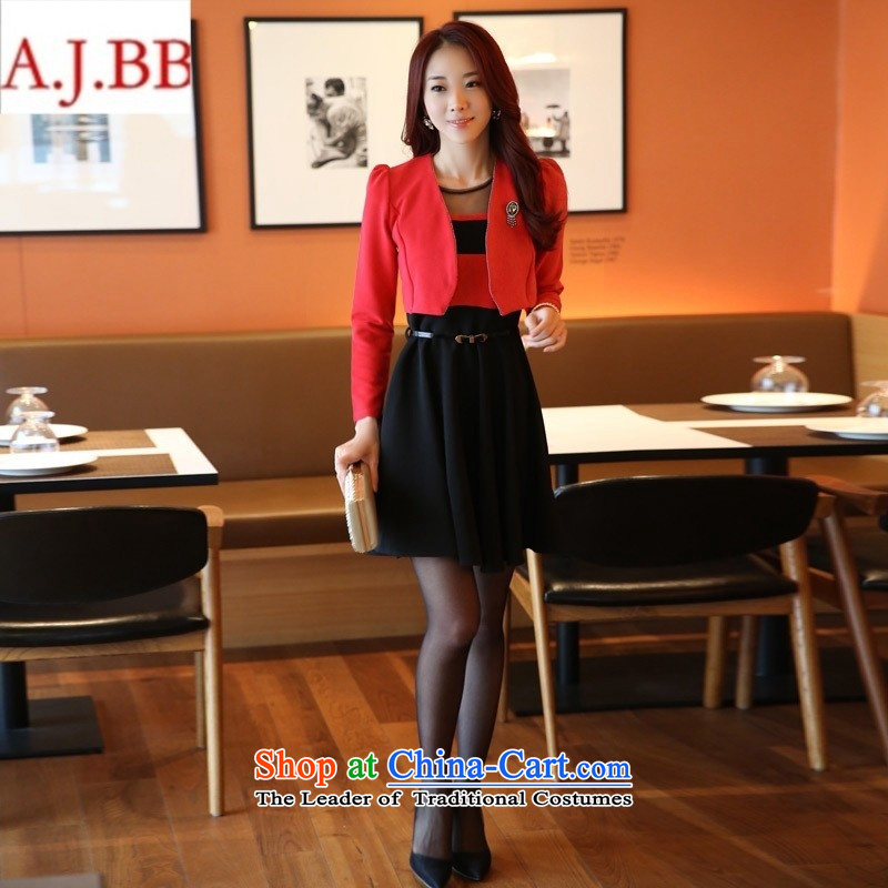 Orange Tysan *2015 new fall inside the vocational skirt long-sleeved video thin two kits skirt the nursing period for larger dress kit redcoats + black frocks?L