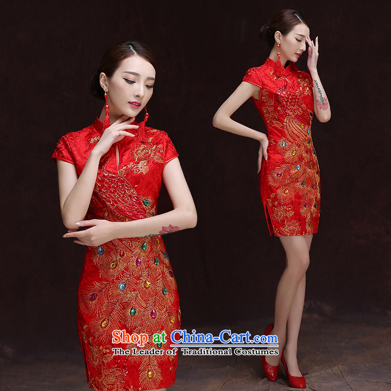 Short of qipao retro collar qipao marriages fall 2015 Sau San bows of Chinese qipao gown etiquette roving entertainment services red燲L