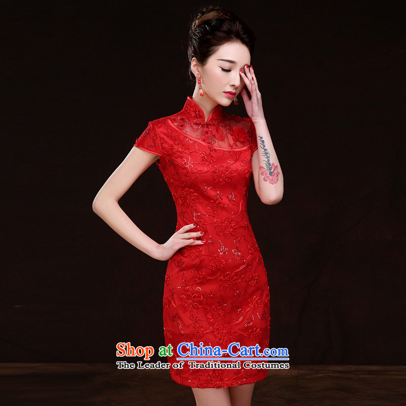 The bride dress qipao autumn 2015 new marriage bows services red collar embroidery short of Chinese wedding dress costume red?S