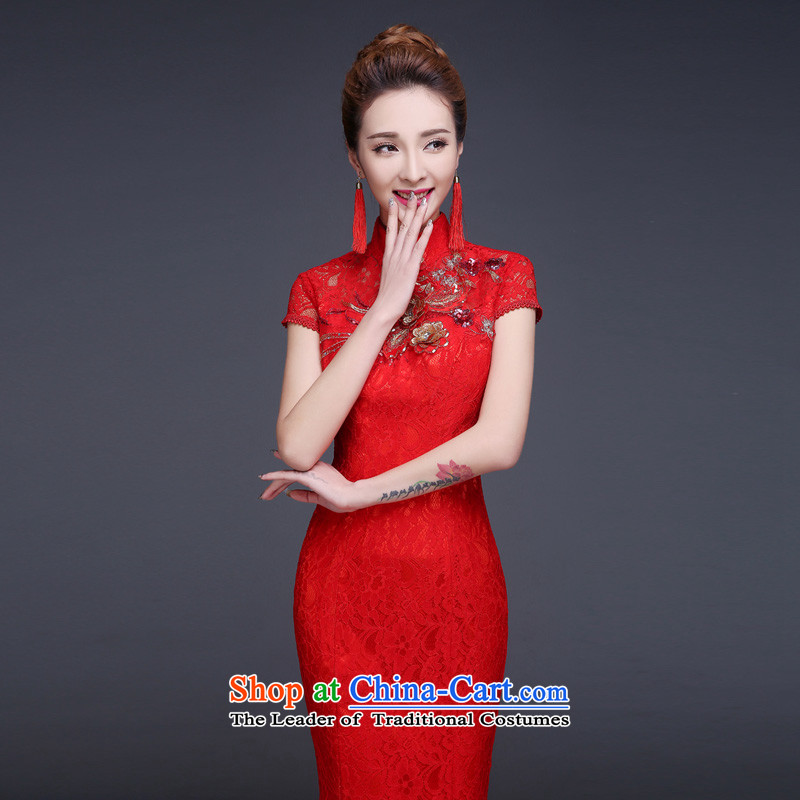 However, the spring and autumn wedding dresses bride services 2015 New Chinese wedding dress red Sau San crowsfoot long improved retro style red燤