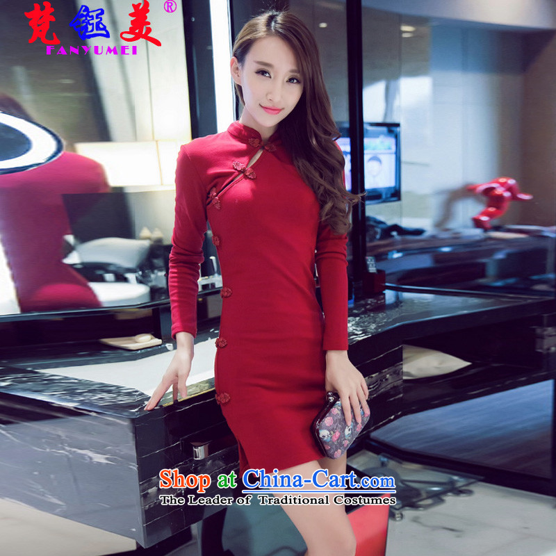 Mr TSANG Yok-us fall Van Gogh stylish sexy package and cheongsam dress female retro Sau San the forklift truck leisure short skirts?6915?RED?M