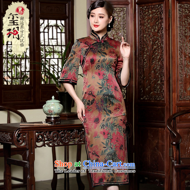 The fall of the new seal cloud of incense in Uganda, Retro elegant qipao long Silk Cheongsam boards in cuff dresses picture color燲L