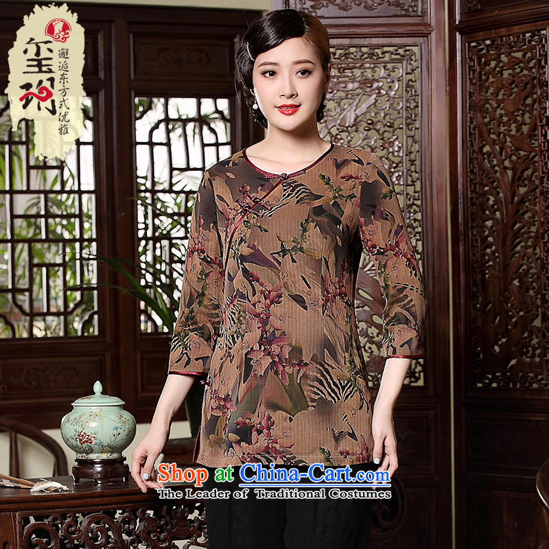 The fall of the new seal retro long-sleeved shirt, middle-aged qipao cloud of incense yarn silk elegant high-end Tang dynasty picture color聽L