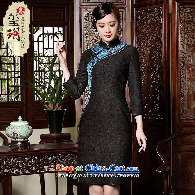 The Seal of autumn and winter in the new improved day-to-day long-sleeved qipao retro plane collision color temperament disc Ms. detained dresses black燲XL