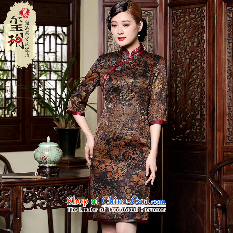 The fall of the seal) Ms. cuff cheongsam dress retro-cloud yarn silk short, manually upgrading the skirt�XXXL color picture
