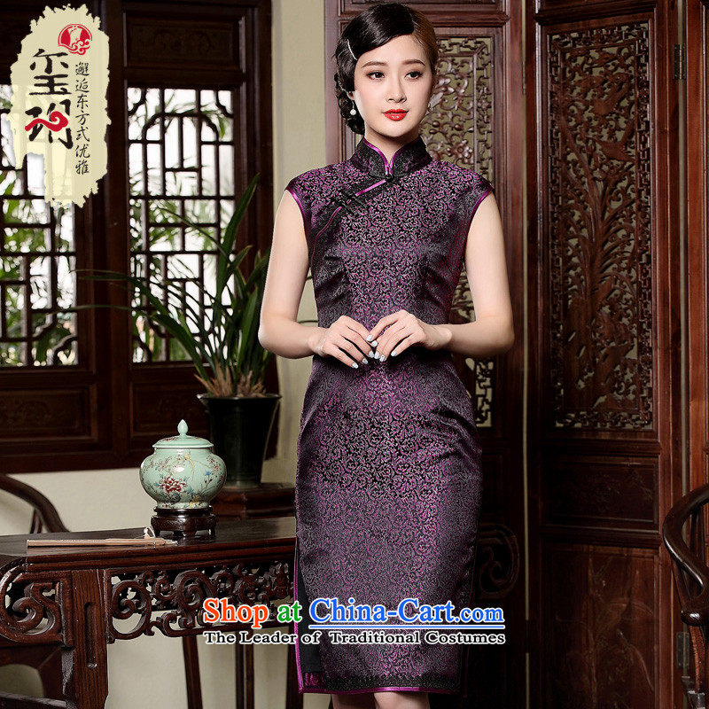 The seal of the new high-end manually elegant retro-day improved banquet dresses qipao Ms. short, dresses purple?XL