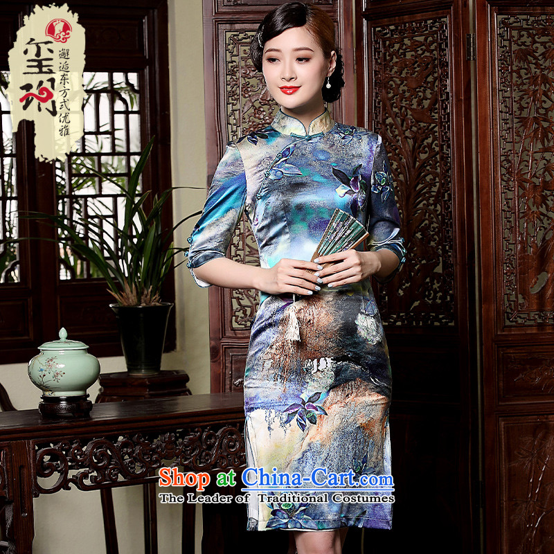 The fall of Chinese retro seal with Silk Cheongsam Tang improved daily 7 Ms. cuff short skirt pictures flag color?XXL