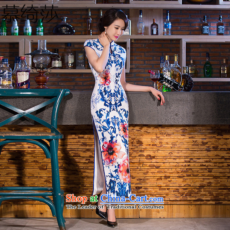 The cross-Sha Ling smoke porcelain cheongsam look retro qipao length skirts new daily improved cheongsam dress in long cheongsam dress�Q 270�White�M