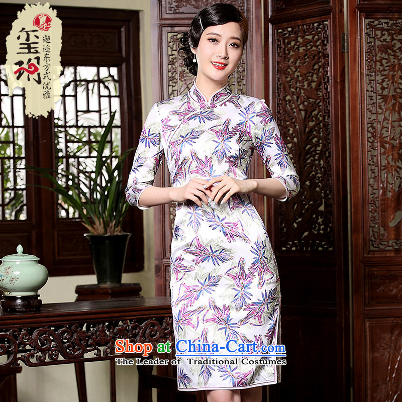 The fall of the new seal 7. Short-sleeved qipao retro improved daily, silk cheongsam dress herbs extract picture color�S