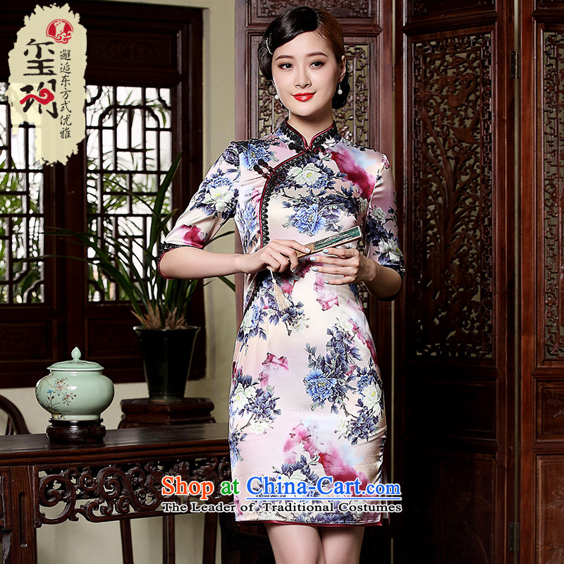 The principle of nostalgia for the improvement of the seal lace short edge) in the ordinary course of the Cuff qipao skirt Silk Cheongsam Ms. stamp dresses picture color?L
