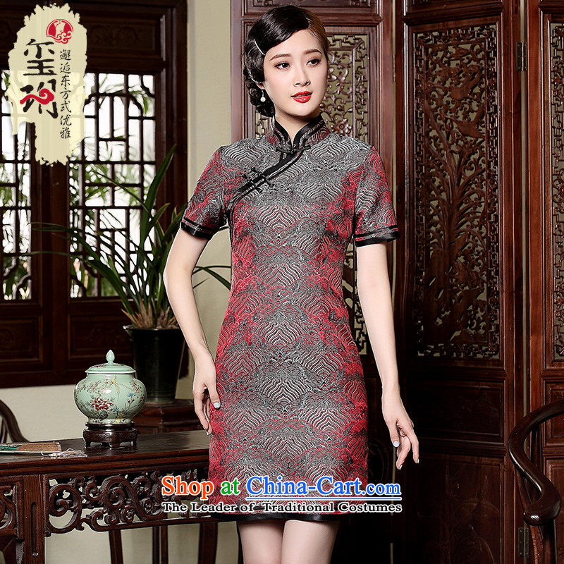 The Seal of tattoo retro elegant short Xiangyun, disk port manually upgrading of Qipao Ms. Tang dynasty qipao everyday dress photo color�XL