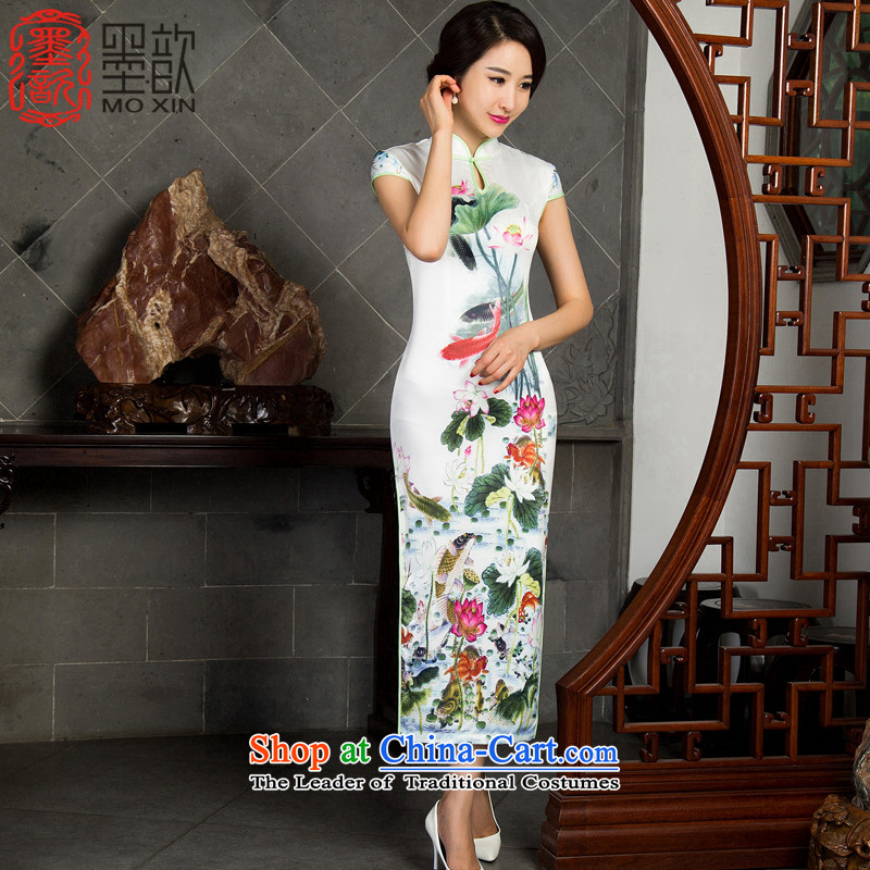 I should be grateful if you would have the dream of�2015 Autumn ? long cheongsam long cheongsam dress retro new improved cheongsam dress�M10016�White�M