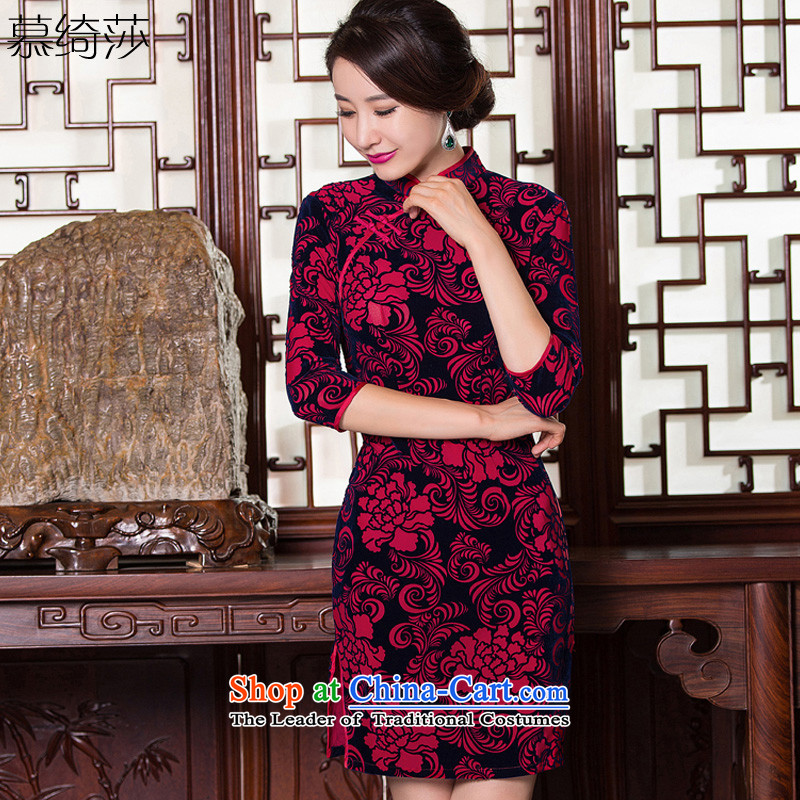The cross-SA-ching�2015 Autumn load velvet rattan qipao retro style 7 cuff from older new moms qipao skirt replacing cheongsam dress�Q 097�dark red�L