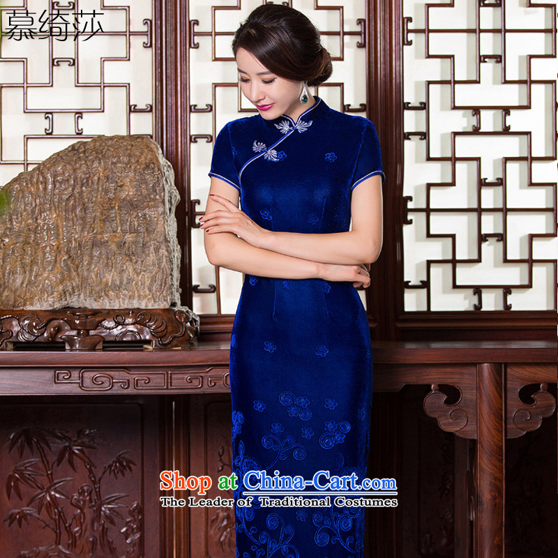 The cross-sa through?2015 new cheongsam autumn scouring pads with a stylish retro long qipao qipao mother with older?Q 268?Blue?2XL
