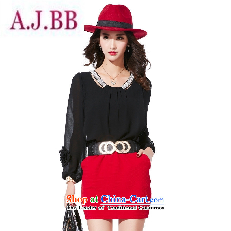 Ya-ting stylish shops 2015 Autumn replacing the new Korean citizenry round-neck collar long-sleeved dresses and sexy knocked color and black skirt package with waistband燣