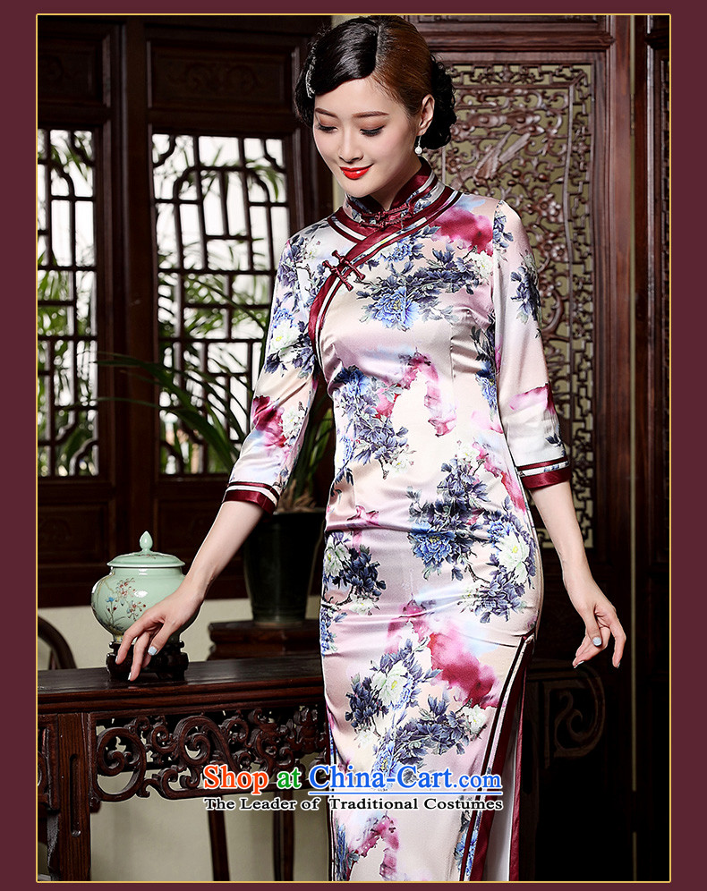 Seal of the fall of the forklift truck new high-long Silk Cheongsam Heavy Industry 7 cuff manually drive improved cheongsam dress photo-color聽pictures, prices, S brand platters! The elections are supplied in the national character of distribution, so action, buy now enjoy more preferential! As soon as possible.