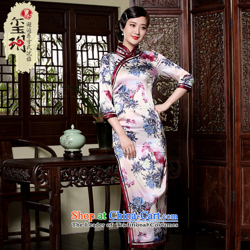 Seal of the fall of the forklift truck new high-long Silk Cheongsam Heavy Industry 7 cuff manually drive improved cheongsam dress photo-color燬
