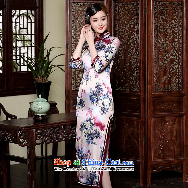 Seal of the fall of the forklift truck new high-long Silk Cheongsam Heavy Industry 7 cuff manually drive improved cheongsam dress photo-color聽S seal decreased by , , , shopping on the Internet