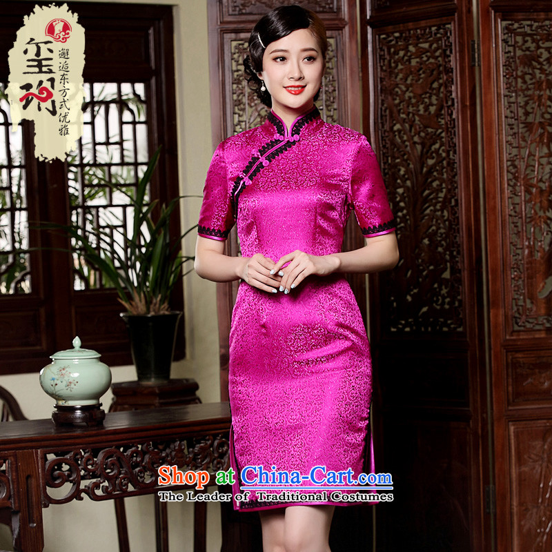 Seal the fall of the new improved daily Ms. qipao gown Chinese classical elegance dresses elegant red燲L pre-sale 20 Days